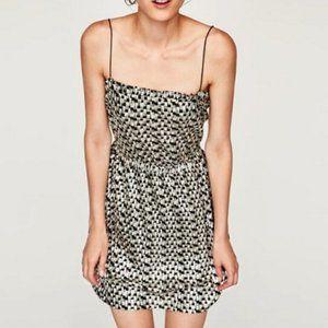 Zara Silver & Black Geometric Print Ruffle Mini